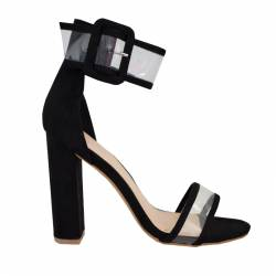 PUBLIC DESIRE MISSION PERSPEX STRAP BUCKLED BLOCK HIGH HEELS BLACK