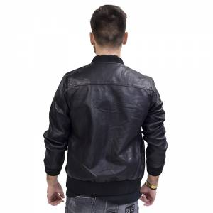 AL FRANCO JACKET BOMBER BLACK ΔΕΡΜΑΤΙΝH