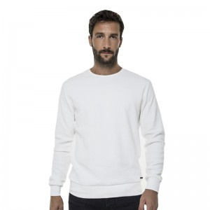 FUNKY BUDDHA MEN'S CREW NECK SWEATER WHITE ΑΝΤΡΙΚΟ ΠΛΕΚΤΟ ΠΟΥΛΟΒΕΡ FBM013-06219